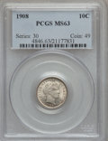 Barber Dimes: , 1908 10C MS63 PCGS. PCGS Population (84/151). NGC Census: (66/143).Mintage: 10,600,545. Numismedia Wsl. Price for problem ...