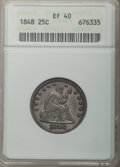 Seated Quarters: , 1848 25C XF40 ANACS. NGC Census: (0/25). PCGS Population (6/32).Mintage: 146,000. Numismedia Wsl. Price for problem free N...
