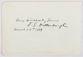 Autographs:Artists, Frederick Samuel Dellenbaugh (1853-1935, American Artist and waswith Major Powell's Second Expedition). Clipped Signature. ...