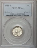 Mercury Dimes: , 1918-S 10C MS64 PCGS. PCGS Population (115/48). NGC Census:(103/52). Mintage: 19,300,000. Numismedia Wsl. Price for proble...