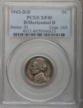 Jefferson Nickels: , 1942-D 5C D Over Horizontal D XF40 PCGS. PCGS Population (18/74).(#4015)...