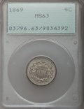 Shield Nickels: , 1869 5C MS63 PCGS. PCGS Population (94/209). NGC Census: (74/251).Mintage: 16,395,000. Numismedia Wsl. Price for problem f...