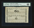 Canadian Currency: , St. Cesaire, LC- W.U. Chaffers 1 Chelin/1 Shilling/ 24 Sous-12Sous/6 Pence July 6, 1837 Ch. # QC-75-10-06R Uncut Pair. ...