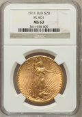 Saint-Gaudens Double Eagles, 1911-D/D $20 RPM FS-501 MS63 NGC. NGC Census: (31/202). PCGS Population (7/158). (#145010)...