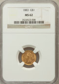 Gold Dollars: , 1883 G$1 MS62 NGC. NGC Census: (64/309). PCGS Population (79/513).Mintage: 10,800. Numismedia Wsl. Price for problem free ...