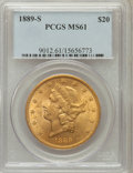 Liberty Double Eagles: , 1889-S $20 MS61 PCGS. PCGS Population (338/1052). NGC Census:(649/631). Mintage: 774,700. Numismedia Wsl. Price for proble...