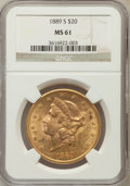 Liberty Double Eagles: , 1889-S $20 MS61 NGC. NGC Census: (649/631). PCGS Population(338/1052). Mintage: 774,700. Numismedia Wsl. Price for problem...