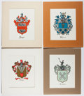 Books:Prints & Leaves, Group of Four Color Lithographic Plates of Coats of Arms. Approx.10.25 x 7 inches. Matted. Very good.... (Total: 4 Items)