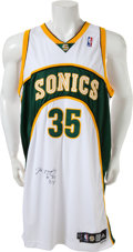 Basketball Collectibles:Uniforms, 2007-08 Kevin Durant Game Worn Seattle Supersonics RookieJersey....