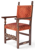 Furniture : Continental, A SPANISH RENAISSANCE STYLE WOOD UPHOLSTERED ARM CHAIR . 19thcentury . 45-1/4 inches high x 24-1/2 inches wide x 22-1/2 inc...