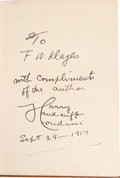 "Movie/TV Memorabilia:Memorabilia, A Harry Houdini Inscribed Book Titled ""The Unmasking ofRobert-Houdin,"" 1917.. ..."