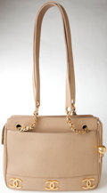 Luxury Accessories:Bags, Heritage Vintage: Chanel Beige Caviar Leather Shoulder Bag withGold Hardware. ...