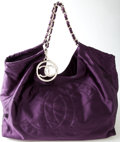 Luxury Accessories:Bags, Heritage Vintage: Chanel Purple Satin Cabas Oversized Tote withSilver Hardware. ...