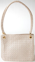 Luxury Accessories:Bags, Heritage Vintage: Bottega Veneta Cream Woven Leather Shoulder Bagwith Gold Hardware. ...