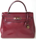 Luxury Accessories:Bags, Heritage Vintage: Hermes 28cm Rouge H Calf Box Leather Kelly Bagwith Gold Hardware. ...