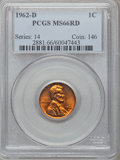 Lincoln Cents: , 1962-D 1C MS66 Red PCGS. PCGS Population (175/0). NGC Census:(450/16). Mintage: 1,793,148,416. Numismedia Wsl. Price for p...