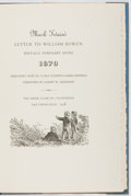 Books:Biography & Memoir, Mark Twain's Letter to William Bowen, Buffalo, February Sixth,1870. Book Club of California, 1938. First edition, lim...