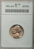 Jefferson Nickels: , 1954-S/D 5C MS65 ANACS. NGC Census: (45/33). PCGS Population(95/3). Mintage: 29,384,000. Numismedia Wsl. Price for problem...