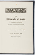 Books:Reference & Bibliography, [John Ruskin, subject]. The Bibliography of Ruskin. [n. d.].Fourth edition. Ex-library with typical markings an...