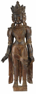 Asian:Other, A Nepalese Wooden Figure. Unknown maker, Nepalese. 18th century.Carved wood. Unmarked. Unmarked. 35 inches high. The ca...