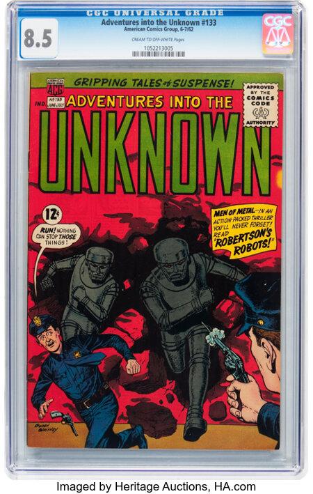 Adventures Into The Unknown #133 (ACG, 1962) CGC VF+ 8.5 Cream to off-white pages....