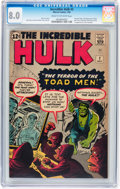 Silver Age (1956-1969):Superhero, The Incredible Hulk #2 (Marvel, 1962) CGC VF 8.0 Cream to off-whitepages....