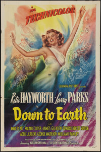 """Down to Earth (Columbia, 1947). One Sheet (27"""" X 41""""). Musical"""