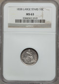 Seated Dimes: , 1838 10C Large Stars MS63 NGC. NGC Census: (39/161). PCGSPopulation (40/119). Mintage: 1,992,500. Numismedia Wsl. Pricefo...