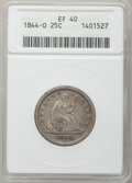 Seated Quarters: , 1844-O 25C XF40 ANACS. NGC Census: (2/37). PCGS Population (3/45).Mintage: 740,000. Numismedia Wsl. Price for problem free...
