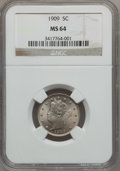 Liberty Nickels: , 1909 5C MS64 NGC. NGC Census: (135/67). PCGS Population (190/81).Mintage: 11,590,526. Numismedia Wsl. Price for problem fr...