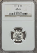 Barber Dimes: , 1907-O 10C MS63 NGC. NGC Census: (37/64). PCGS Population (29/70).Mintage: 5,058,000. Numismedia Wsl. Price for problem fr...