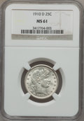 Barber Quarters: , 1910-D 25C MS61 NGC. NGC Census: (6/68). PCGS Population (3/80).Mintage: 1,500,000. Numismedia Wsl. Price for problem free...