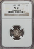 Bust Dimes: , 1833 10C MS61 NGC. NGC Census: (21/143). PCGS Population (4/107).Mintage: 485,000. Numismedia Wsl. Price for problem free ...