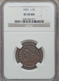 1835 1/2 C XF45 NGC. NGC Census: (58/1279). PCGS Population (79/703). Mintage: 398,000. Numismedia Wsl. Price for proble...
