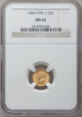 Gold Dollars: , 1854 G$1 Type One MS62 NGC. NGC Census: (1214/901). PCGS Population(502/537). Mintage: 855,502. Numismedia Wsl. Price for ...