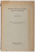 Books:Natural History Books & Prints, Joseph Grinnell. Review of the Recent Mammal Fauna of California. CA. Academy of Sciences, 1933. First edition, ...
