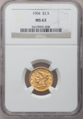 Liberty Quarter Eagles: , 1904 $2 1/2 MS63 NGC. NGC Census: (859/1615). PCGS Population(1103/1440). Mintage: 160,700. Numismedia Wsl. Price for prob...