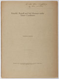 Books:Natural History Books & Prints, Forrest Shreve. INSCRIBED. Rainfall, Runoff and Soil Moisture under Desert Conditions. Annals of the Association...