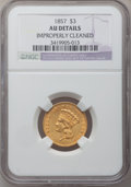 Three Dollar Gold Pieces: , 1857 $3 -- Improperly Cleaned -- NGC Details. AU. NGC Census:(34/471). PCGS Population (44/205). Mintage: 20,891. Numismed...