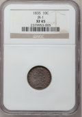 Bust Dimes: , 1835 10C XF45 NGC. JR-1. NGC Census: (23/379). PCGS Population(58/327). Mintage: 1,410,000. Numismedia Wsl. Price for pro...