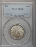 Barber Quarters: , 1893 25C MS62 PCGS. PCGS Population (51/165). NGC Census: (35/158).Mintage: 5,444,815. Numismedia Wsl. Price for problem f...