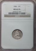 Seated Dimes, 1886 10C MS62 Prooflike NGC. NGC Census: (52/395). PCGS Population(66/354). Mintage: 6,376,684. Numismedia Wsl. Price for ...
