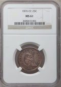 Seated Quarters: , 1876-CC 25C MS61 NGC. NGC Census: (14/132). PCGS Population(13/136). Mintage: 4,944,000. Numismedia Wsl. Price for problem...