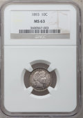 Barber Dimes: , 1893 10C MS63 NGC. NGC Census: (50/121). PCGS Population (57/109).Mintage: 3,340,792. Numismedia Wsl. Price for problem fr...