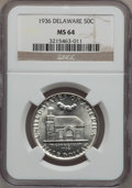 1936 50C Delaware MS64 NGC. NGC Census: (964/1751). PCGS Population: (1544/2442). MS64. Mintage 20,993