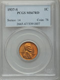 Lincoln Cents: , 1937-S 1C MS67 Red PCGS. PCGS Population (155/0). NGC Census:(748/0). Mintage: 34,500,000. Numismedia Wsl. Price for probl...