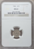 Three Cent Silver: , 1862 3CS MS61 NGC. NGC Census: (32/910). PCGS Population (26/893).Mintage: 343,000. Numismedia Wsl. Price for problem free...