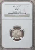 Barber Dimes: , 1911-D 10C MS65 NGC. NGC Census: (40/33). PCGS Population (56/43).Mintage: 11,209,000. Numismedia Wsl. Price for problem f...