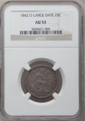 Seated Quarters: , 1842-O 25C Large Date AU53 NGC. NGC Census: (0/14). PCGS Population(2/31). Mintage: 769,000. Numismedia Wsl. Price for pro...