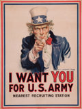 Fine Art - Work on Paper:Print, JAMES MONTGOMERY FLAGG (American, 1877-1960). I Want You forU.S. Army. Color poster laid on canvas. 40 x 30 inches (101...